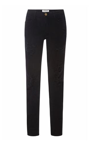 Medium frame denim black le color ripped skinny jeans