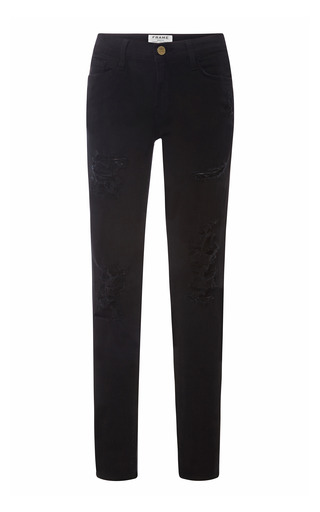 Medium frame denim black le color ripped skinny jeans