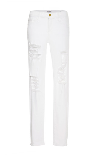 Medium frame denim white le color distressed skinny jeans