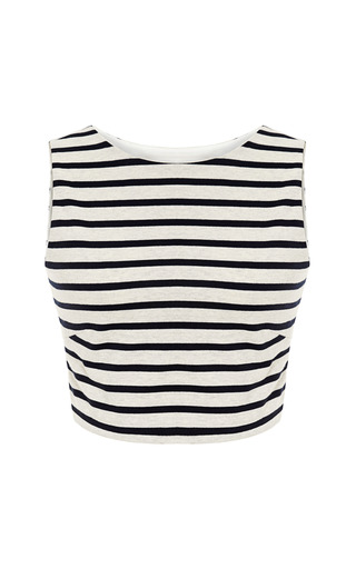 Medium harvey faircloth navy striped cropped tank