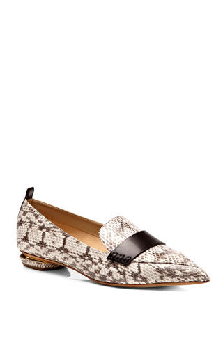 Pointed Toe Snakeskin Loafers by NICHOLAS KIRKWOOD Now Available on Moda Operandi