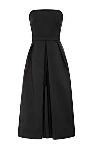 Medium tibi black agathe sleeveless jumpsuit with pleating detail