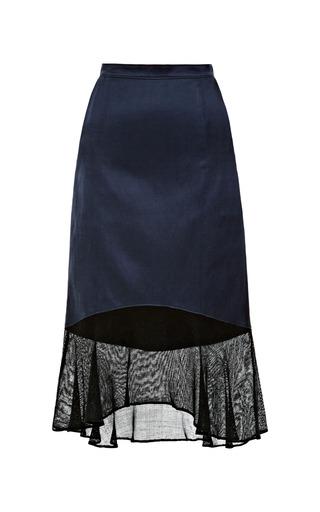 Medium tibi black fog skirt with mesh