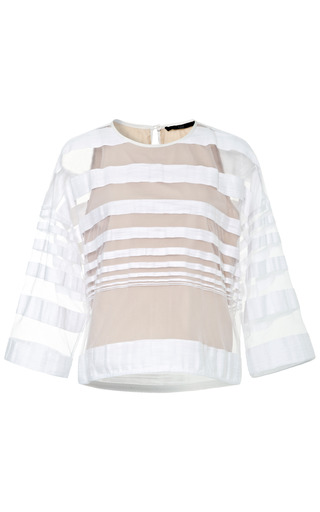 Medium tibi nude striped jacquard gauze sweatshirt