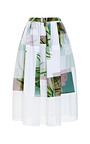 Fiore Di Cactus On Cotton Poplin Skirt With Mesh Combo And Buckle Detail by TIBI for Preorder on Moda Operandi