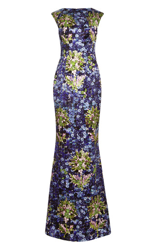 Medium mary katrantzou black floral print satin gown