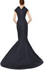 Silk Faille Drape Neck Gown by ZAC POSEN Now Available on Moda Operandi
