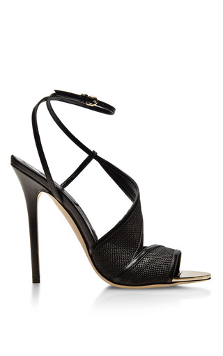 Medium brian atwood black pansy leather and raffia sandals