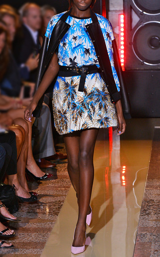 Blue Palm Tree Print And Organza T Shirt by FAUSTO PUGLISI for Preorder on Moda Operandi