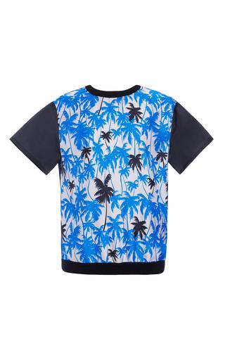 Medium fausto puglisi print blue palm tree print and organza t shirt
