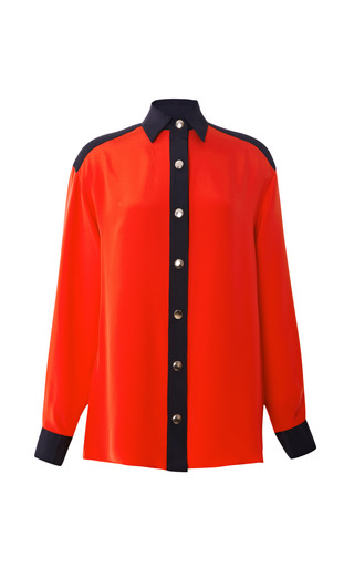 Medium fausto puglisi red color blocked cady shirt in red