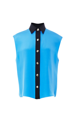 Medium fausto puglisi blue sleeveless cady blouse