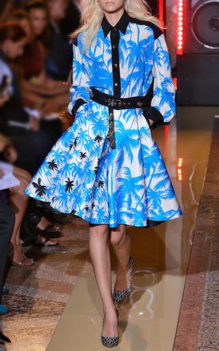 Blue Palm Tree Print Long Sleeve Shirt by FAUSTO PUGLISI for Preorder on Moda Operandi
