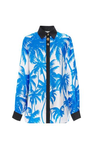 Medium fausto puglisi print blue palm tree print long sleeve shirt