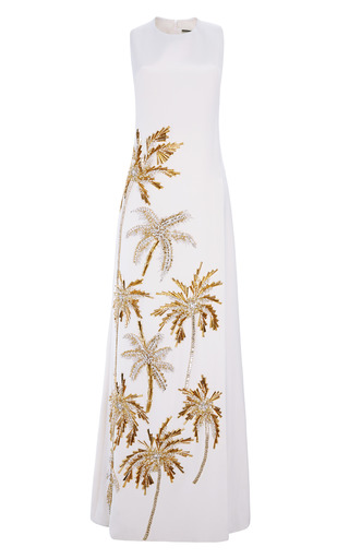 Medium fausto puglisi white sleeveless embroidered long cady dress