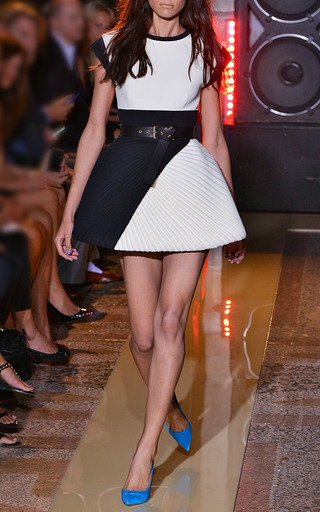 Two Tone Cady Dress With Plisse Skirt by FAUSTO PUGLISI for Preorder on Moda Operandi