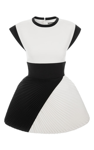 Medium fausto puglisi white two tone cady dress with plisse skirt