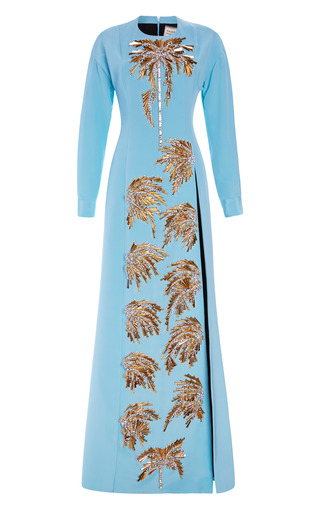 Medium fausto puglisi blue embroidered long cady dress with double slit