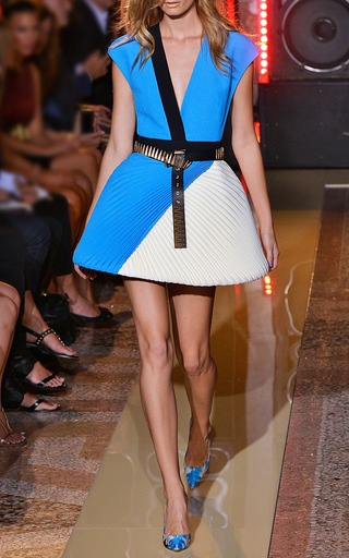 Two Tone Cady V Neck Dress With Plisse Skirt by FAUSTO PUGLISI for Preorder on Moda Operandi