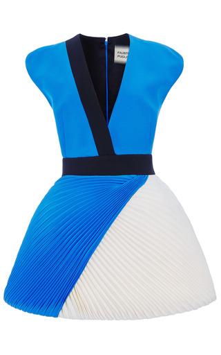 Medium fausto puglisi white two tone cady v neck dress with plisse skirt
