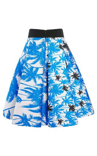 Blue Palm Tree Print Full Skirt by FAUSTO PUGLISI for Preorder on Moda Operandi