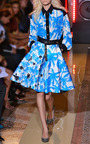 Blue Palm Tree Print Full Skirt by FAUSTO PUGLISI for Preorder on Moda Operandi