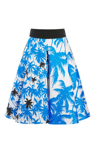 Medium fausto puglisi print blue palm tree print full skirt