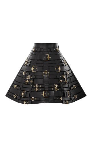 Medium fausto puglisi black buckled leather harness skirt