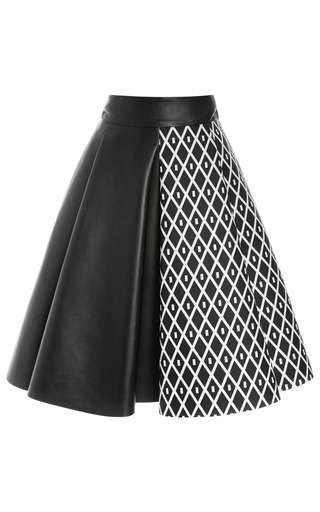 Medium fausto puglisi white san domenico america and calf leather skirt