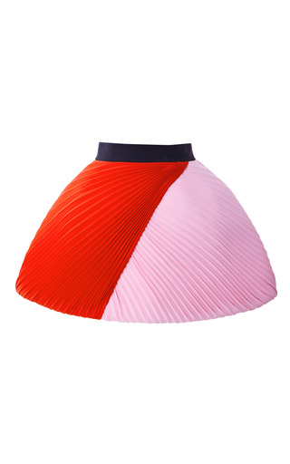 Color Blocked Plisse Cady Skirt by FAUSTO PUGLISI for Preorder on Moda Operandi