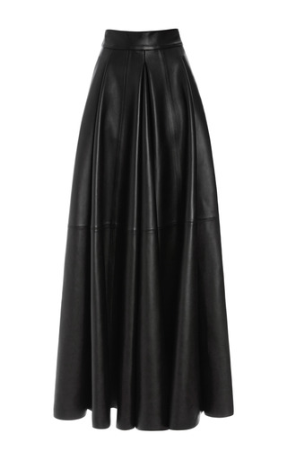 Medium fausto puglisi black san domenico long leather skirt