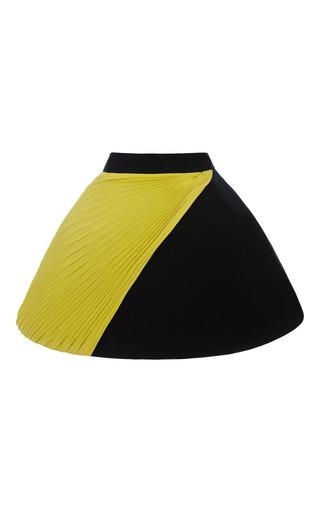 Medium fausto puglisi black yellow plisse and black cady mini skirt