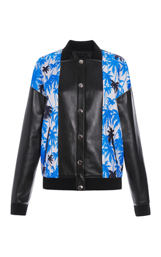 Medium fausto puglisi print palm tree print bomber jacket with leather bib and sleeves