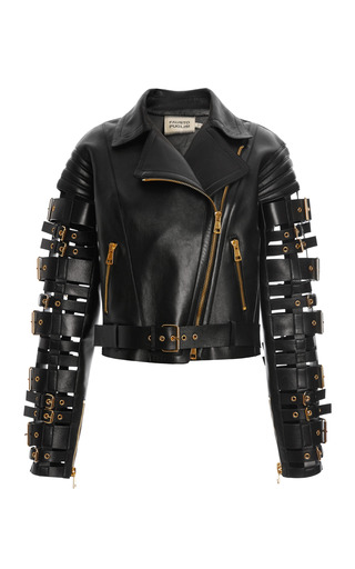Medium fausto puglisi black straps and buckles motorcycle jacket