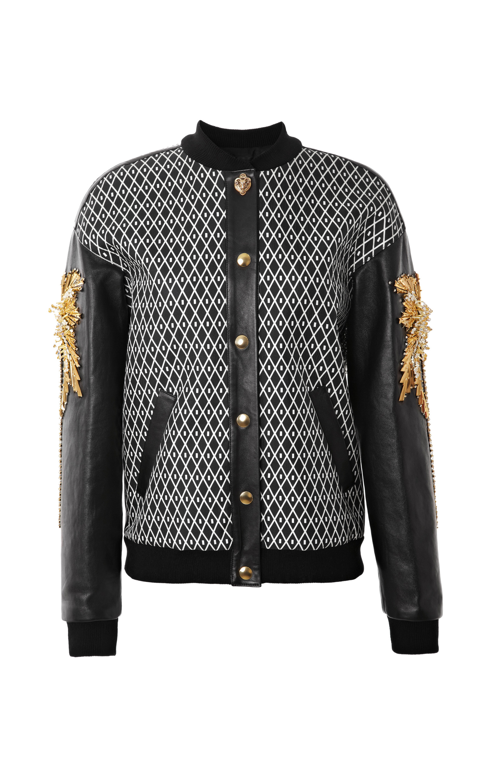 Embroidered Silk Bomber Jacket With Leather Sleeves By