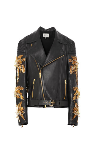 Medium fausto puglisi black calf leather moto jacket with palm tree embroidery