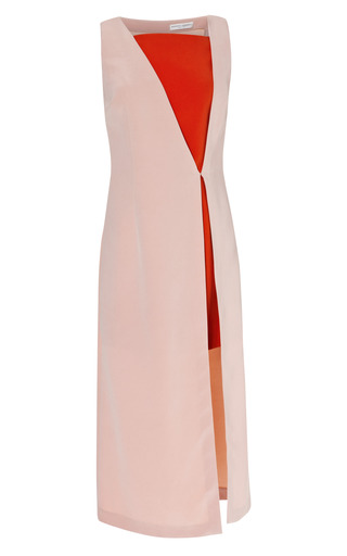 Two Tone Stappled V Neck Midi Dress by BARBARA CASASOLA for Preorder on Moda Operandi