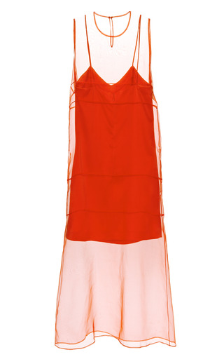 Medium barbara casasola coral organza midi dress with washed satin slip
