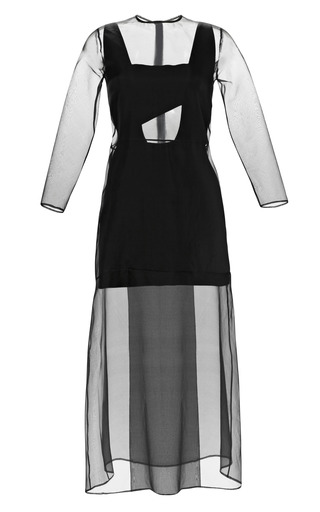 Medium barbara casasola black midi organza dress with cut out slip