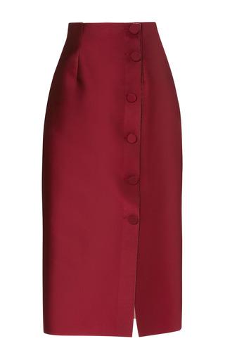 Medium barbara casasola red laser cut double sided midi skirt
