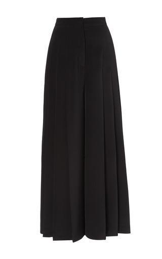 Medium barbara casasola black cady midi culottes with pleats and pockets