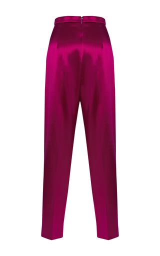 Washed Satin Midi Trousers by BARBARA CASASOLA for Preorder on Moda Operandi
