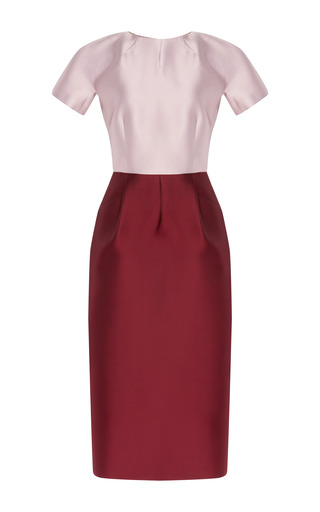 Medium barbara casasola red two tone midi dress with pockets