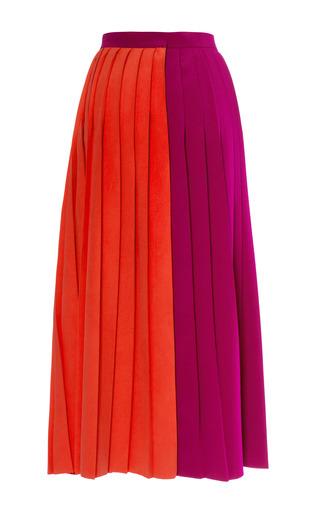 Two Tone Cady Midi Pleated Skirt by BARBARA CASASOLA for Preorder on Moda Operandi