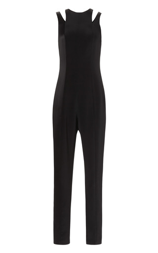 Medium barbara casasola black laser cut midi jumpsuit