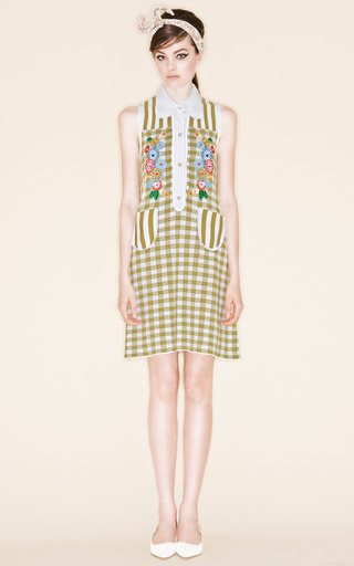 Green Picci Gingham Check Dress by VIVETTA for Preorder on Moda Operandi
