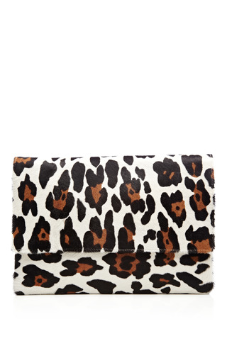 Medium kule multi leopard printed calf hair envelope clutch