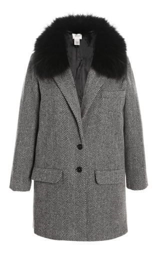 Medium kule dark grey herringbone coat with detachable fox fur collar
