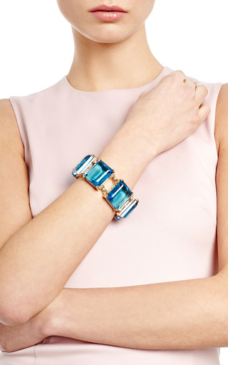 Gold Plated Glass Stone Bracelet by KULE Now Available on Moda Operandi