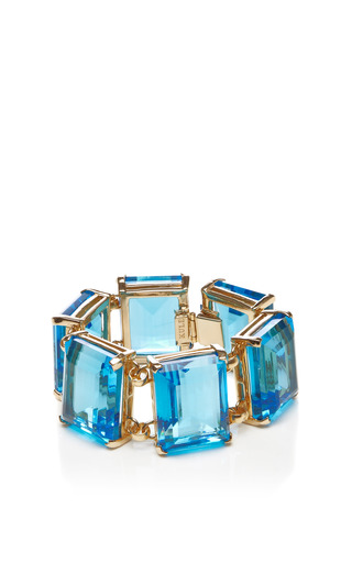 Medium kule blue gold plated glass stone bracelet